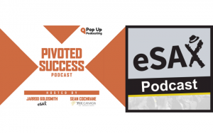Both eSAX and Pivoted Success Podcast graphics side by side